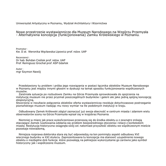 Łącznik Muzeum Narodowego w Poznaniu – Doktorat UAP